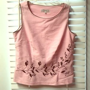 Dress barn pink embroidered tank